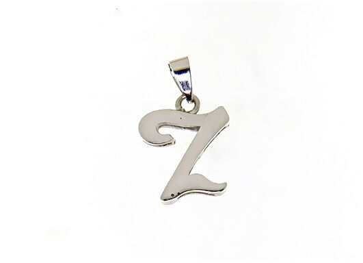 18K WHITE GOLD LUSTER PENDANT WITH INITIAL Z LETTER Z MADE IN ITALY 0.71 INCHES