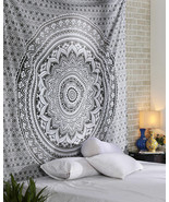 Indian Gray Ombre Mandala Wall Hanging Bohemian Cotton Bedding Bedspread... - $22.53