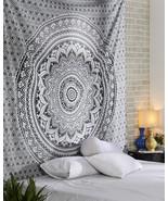 Indian Gray Ombre Mandala Wall Hanging Bohemian Cotton Bedding Bedspread... - $21.40