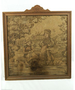Antique Pennsylvania Dutch Needlepoint Sampler Art Man & Woman Carved Frame - $140.24