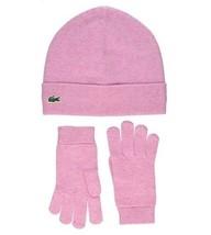 Lacoste Girls Cotton & Cashmere Jersey B EAN Ie & Gloves, Pink Bnwt - $49.75