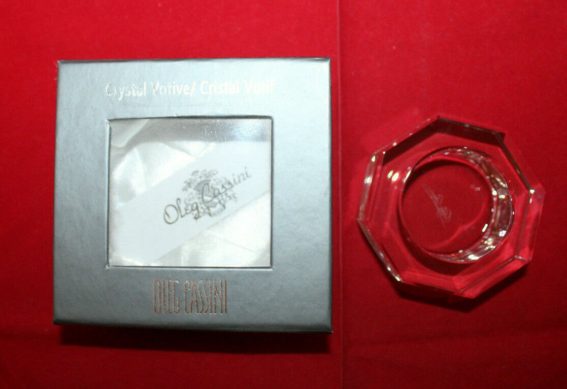 Oleg Cassini Neo Crystal Glass Octagon Shaped Votive Candle Holder Clear Signed - $26.77