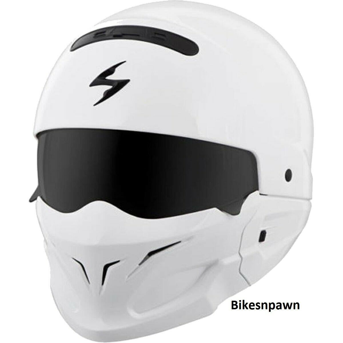 New Size XL Scorpion EXO Covert White 3 in 1 Motorcycle Helmet DOT