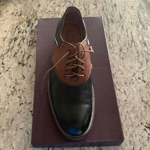 Black Brown Two Tone Men Genuine Leather Handmade Oxford Lace Up Vintage... - $139.99+