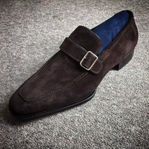 Handmade Men's Chocolate Brown Suede Monk Strap Shoes image 4