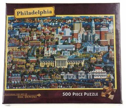 Philadelphia City 500 Piece Jigsaw Puzzle Folk Art Eric Dowdle Masterpie... - $18.79