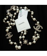 """Chanel Classic Large CC Logo Crystals Pearls 46"""" Necklace New - $2,497.00"""