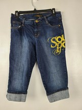 South Pole Womens Juniors Size 9 Blue Denim Beaded Embroidered Bermuda S... - $23.88