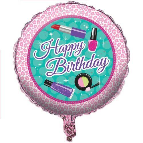 """Sparkle Spa Birthday 18"""" Metallic Foil Balloon Beauty Makeup Icons"""
