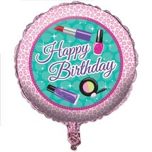 "Sparkle Spa Birthday 18"" Metallic Foil Balloon Beauty Makeup Icons - $3.99"