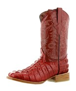 Mens Red Crocodile Tail Pattern Leather Western Wear Cowboy Boots Square... - €92,79 EUR