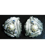 VTG JUDY LEE Silver Tone Faux Pearl Aurora Borealis Leaf Clip Earrings - $14.85