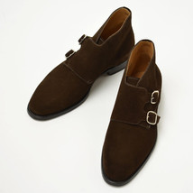 Handmade Men's Chocolate Color High Ankle Monk Strap Suede Boots image 1