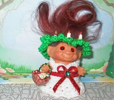 """St Lucia Day TROLL 2.5"""" doll ooak New Hair Vintage Basket of Cookies Christmas"""