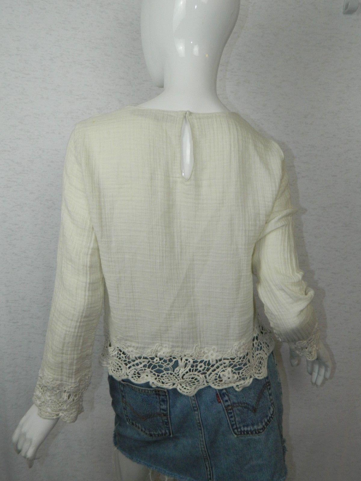 c0149ec1 ZARA Shirt Ivory White Embroidered Crochet Romantic Boho Blouse Size Medium