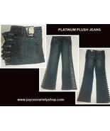 Women's Platinum Plush Blue Jeans Sz 13 NWT Rhinestones Side Cut-Outs - $24.99