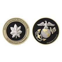 "USMC MARINE CORPS LIEUTENANT COLONEL BLACK GOLD SILVER EGA 1.75""  CHALLE... - $17.09"
