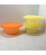 TUPPERWARE SET OF 3 COLLAPSIBLE BOWLS WITH LIDS, 4 CUP & 3 CUP X 2  - $8.91
