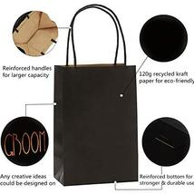 Road 5.25 x 3.25 x 8 Inches 100pcs Black Kraft Paper Bags with Handle, Shopping  image 9