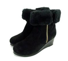 Black Nubuck Leather Wedge Heel Ankle Boots Sz 5 MICHAEL KORS Women's Ca... - $23.76