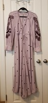 New $168 Free People Embroidered V-neck Jumpsuit Cropped Wide Leg LILAC ... - $61.38