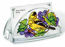 Grapevine Goldfinch Business Card Holder Acrylic New Amia Grapes Yellow ... - $16.82