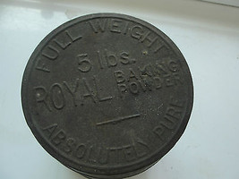 Royal Baking Powder, 5 lbs, Full Weight, Absolutely Pure, old tin, embos... - $42.28