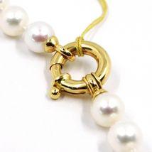 Halskette, Verschluß Ring Groß Gelbgold 18K, Perlen Weiß 8-8.5 MM image 3