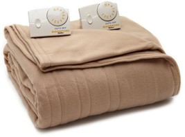 Biddeford 1003-903292-706 Comfort Knit Electric Heated Blanket, Queen, Fawn