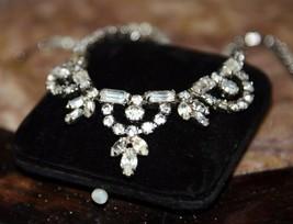 Vintage 1950'S Gorgeous Weiss Rhinestone Necklace Choker Faux Diamond Silvertone - $79.99