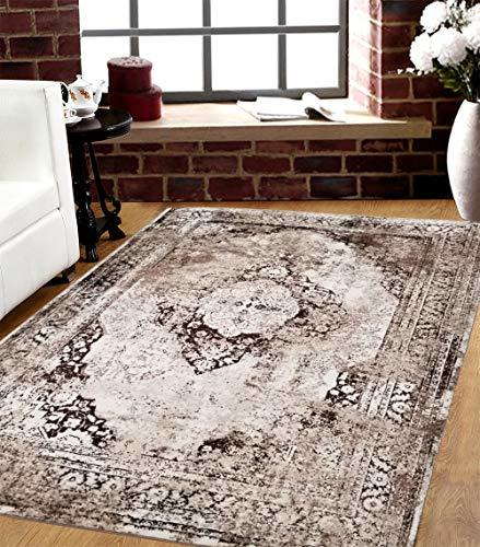 Carved Damask Rug: SavaHome 3396_BNE_BBJ 5 Feet By 7 Feet Decorative Brown