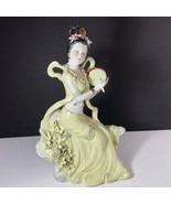 GEISHA PORCELAIN STATUE Asian sculpture figurine antique Japan yellow go... - $346.50