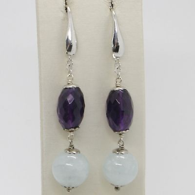 EARRINGS SILVER 925 RHODIUM PLATED WITH AQUAMARINE NATURAL AND AMETHYST OVAL