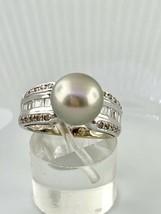 14K Oro Blanco 10mm Tahitiano Perla y 0.62 Tcw Anillo con Diamante Talla... - $509.62