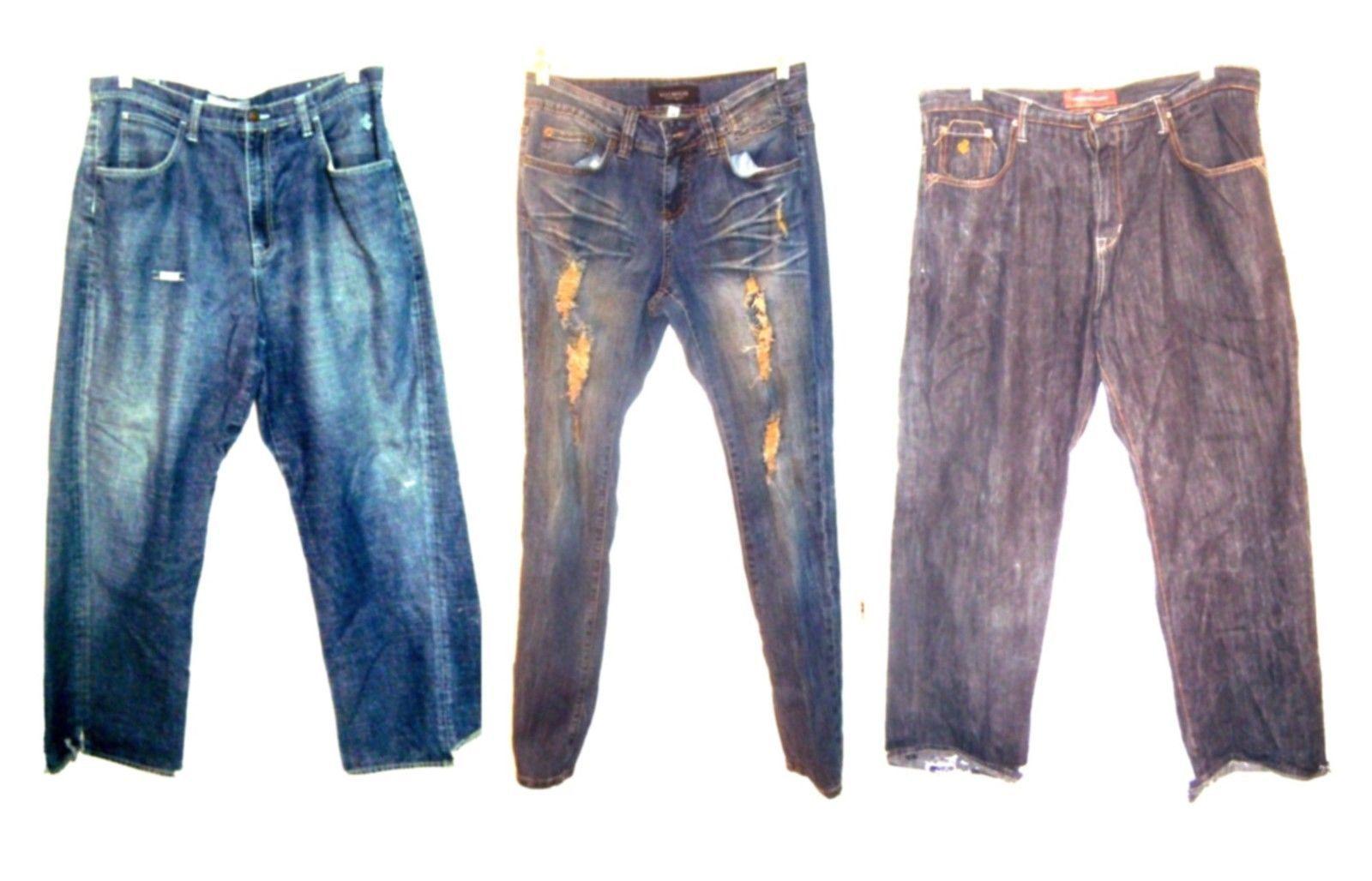 Rocawear Blue Jean Denim Distressed Jeans Pants Sizes 14 - 40 - $22.49