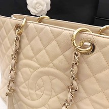 AUTHENTIC CHANEL QUILTED CAVIAR GST GRAND SHOPPING TOTE BAG BEIGE GHW image 4