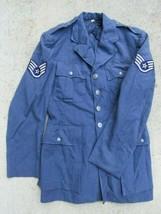 US Air Force Uniform Wool Vintage Coat Dress Jacket 1940's Blue w/ Buttons Rank  - $37.39