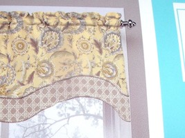 NEW Waverly GRAND BAZAAR VALANCE Curtain Scallop Layered Gold Blue FLORAL - $19.95