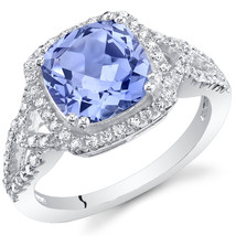 Women's Sterling Silver Cushion Cut Tanzanite Halo Ring - $99.99