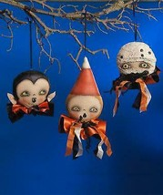 Bethany Lowe Halloween Robin Seeber Ghoulish Ornaments Heads Set of 3 Dr... - $79.19