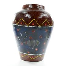 """AT11122-C HANDCRAFTED ABORIGINAL STYLE EMU URN VASE 11"""" TALL X 8"""" WIDE   - $40.00"""