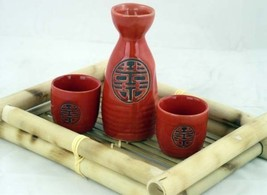 Glazed Ceramic 3 Pcs Japanese Sake Set In Gift Box - $15.65