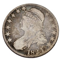 1824 50C Bust Half Dollar Good Condition, Natural Color, Small Scratches... - $69.29