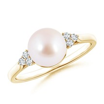 June Birthstone 8mm Cultured Akoya Pearl Diamond Ring Silver/Gold Size 3-13 - $457.76+