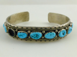D Spencer Navajo Native American Turquoise Sterling Silver Cuff Bracelet - £122.03 GBP
