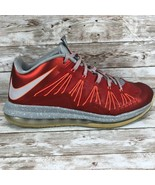 Nike Air Max LeBron 10 X Low Size 9.5 Men's 579765-600 Red Grey - $49.45