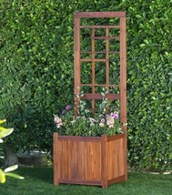 Garden Wood Planter Box Bed With Trellis Climbing Vines Traditional Brow... - ₹10,826.06 INR