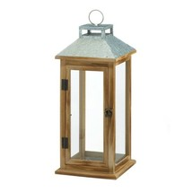 Wooden Candle Lantern w/ Galvanized Metal Pitched Roof Top, Glass Panes - $34.60