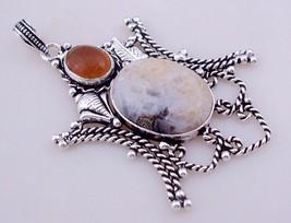 jasper-Citrine Silver Overlay Handmade Pendant Jewelry 16 Gr. F-391_277 - $3.59