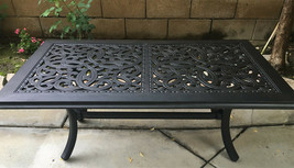 Outdoor Coffee Table Rectangular Cast Aluminum Patio Pool Side Accent Furniture image 1
